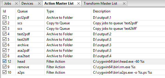 Finding filter actions in the Action Master List