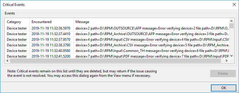 Critical Events dialog