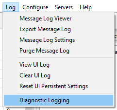 UI log menu for diagnostic logging