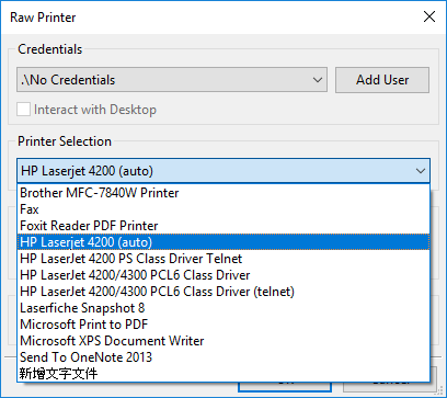 Selecting a printer in raw print