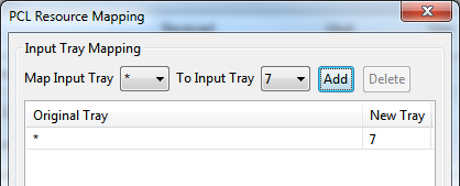PCL resource mapping to default tray
