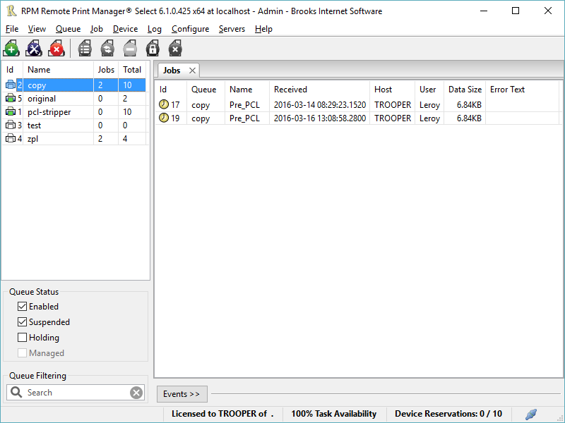 RPM Remote Print Manager Select 32 Bit